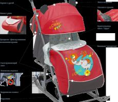 Санки-коляска «Ника Детям 7» складные с колесиками